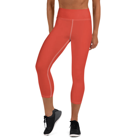 Yoga Capri Leggings Fiesta Red.