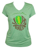 Women's Trail Tee, V-Neck, Synthetic, Heather Black