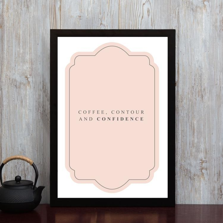 Coffee, Contour and Confidence- Framed Poster