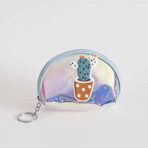 Cute Cacti - Holographic Pouch Keychain