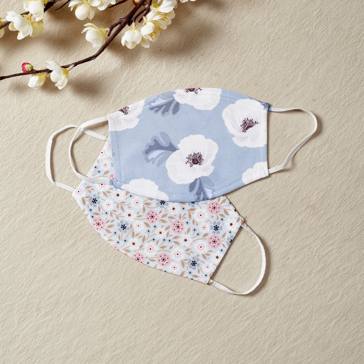 Floral Bliss - Set Of Two Reusable Fabric Face Masks