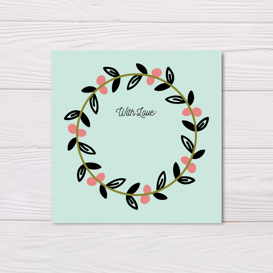 Teal Garland Best Wishes Card Set