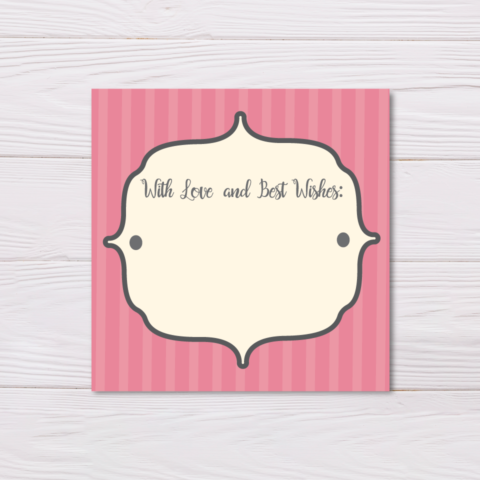 Pink Stripes Best Wishes Card Set