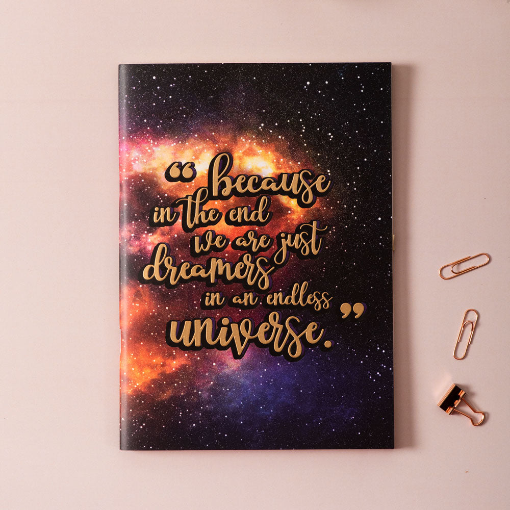 Dreamers In An Endless Universe (GALAXY) - Gold Printed Notebook