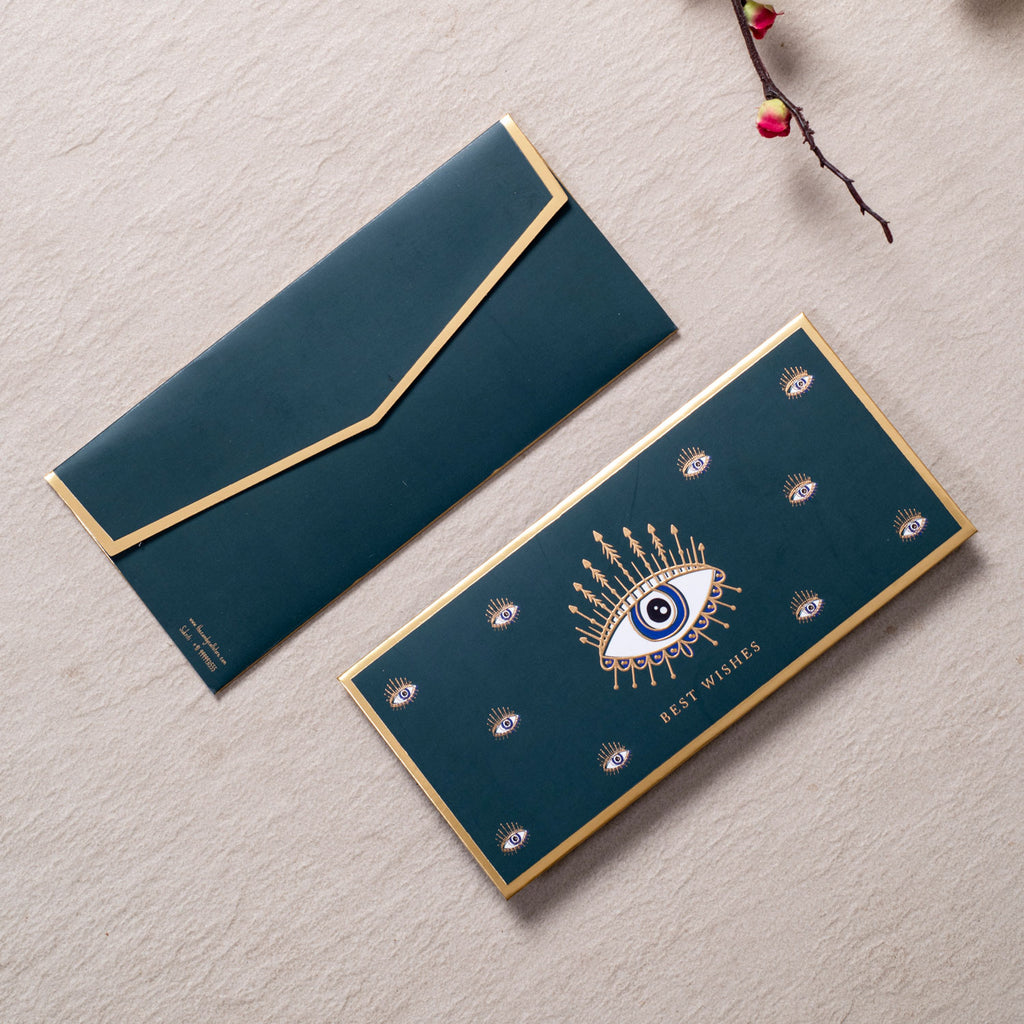 Evil Eye - Green & Gold Foiled Envelopes (Set Of 10)