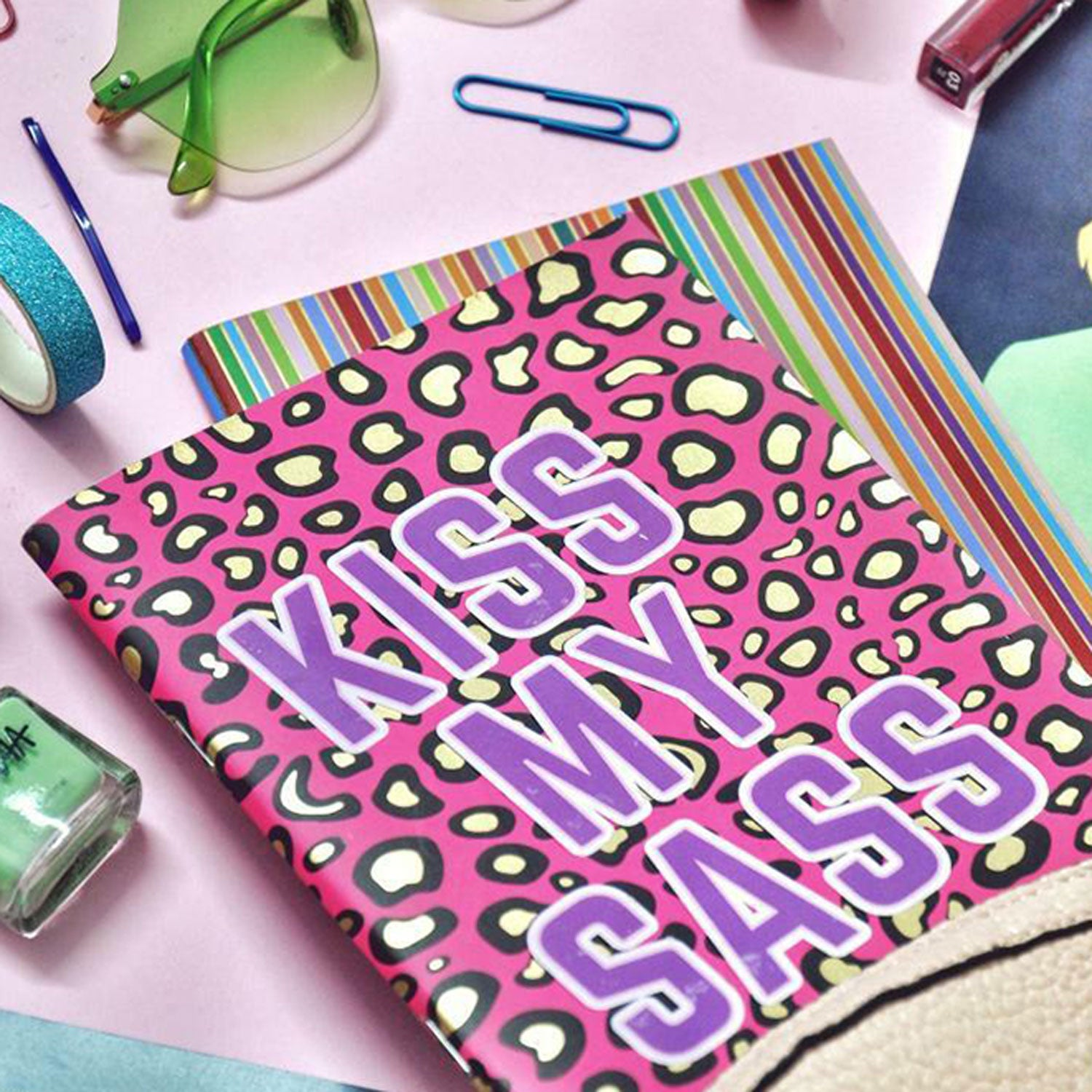 Kiss My Sass (Pink) - Gold Printed Notebook