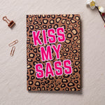 Kiss My Sass (Brown) - Gold Printed Notebook
