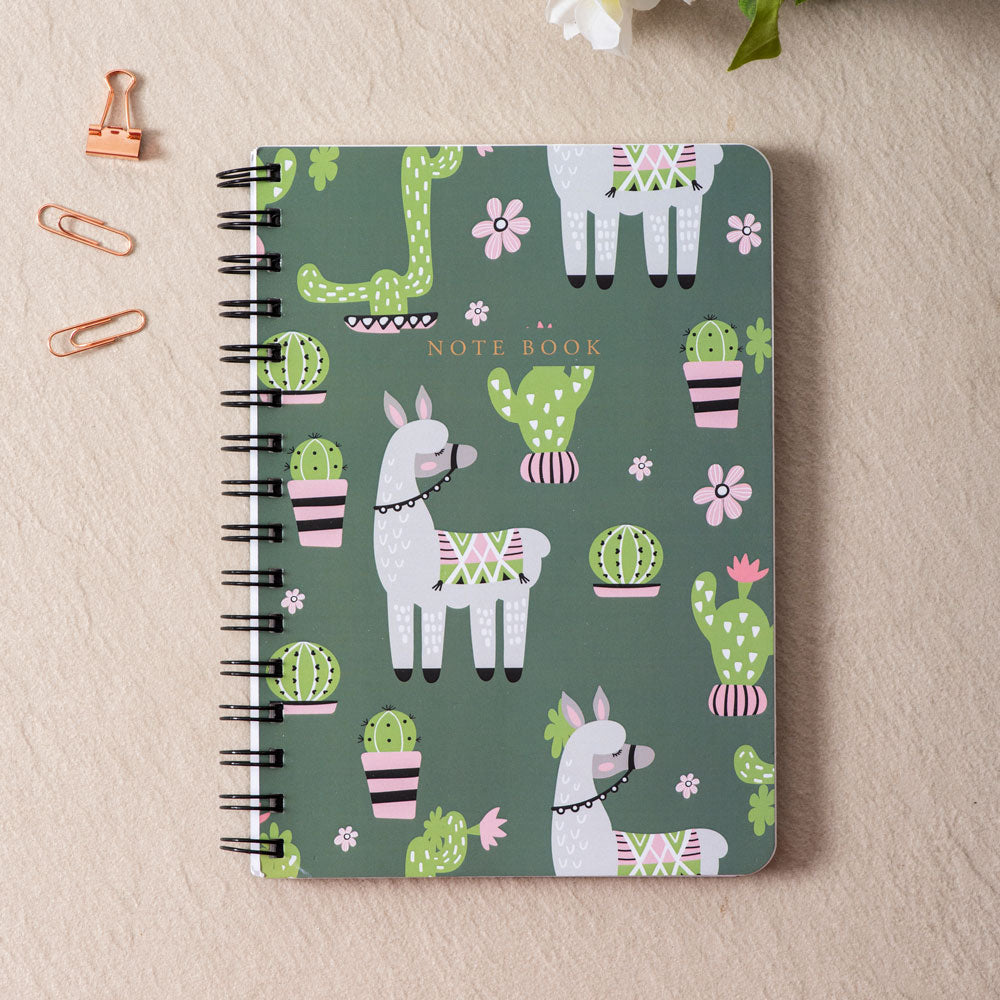 Cute Cactus & Lama - WireO Notebook