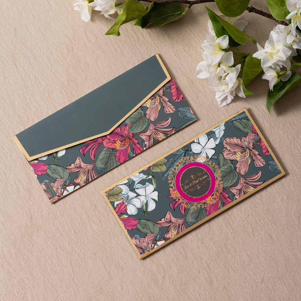 Emerald Bliss - Floral Green & Gold Foiled Envelopes (Set of 10)