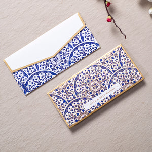 Chinoiserie Luxe - Oriental Blue & Gold Foiled Envelopes ( Set Of 10 )