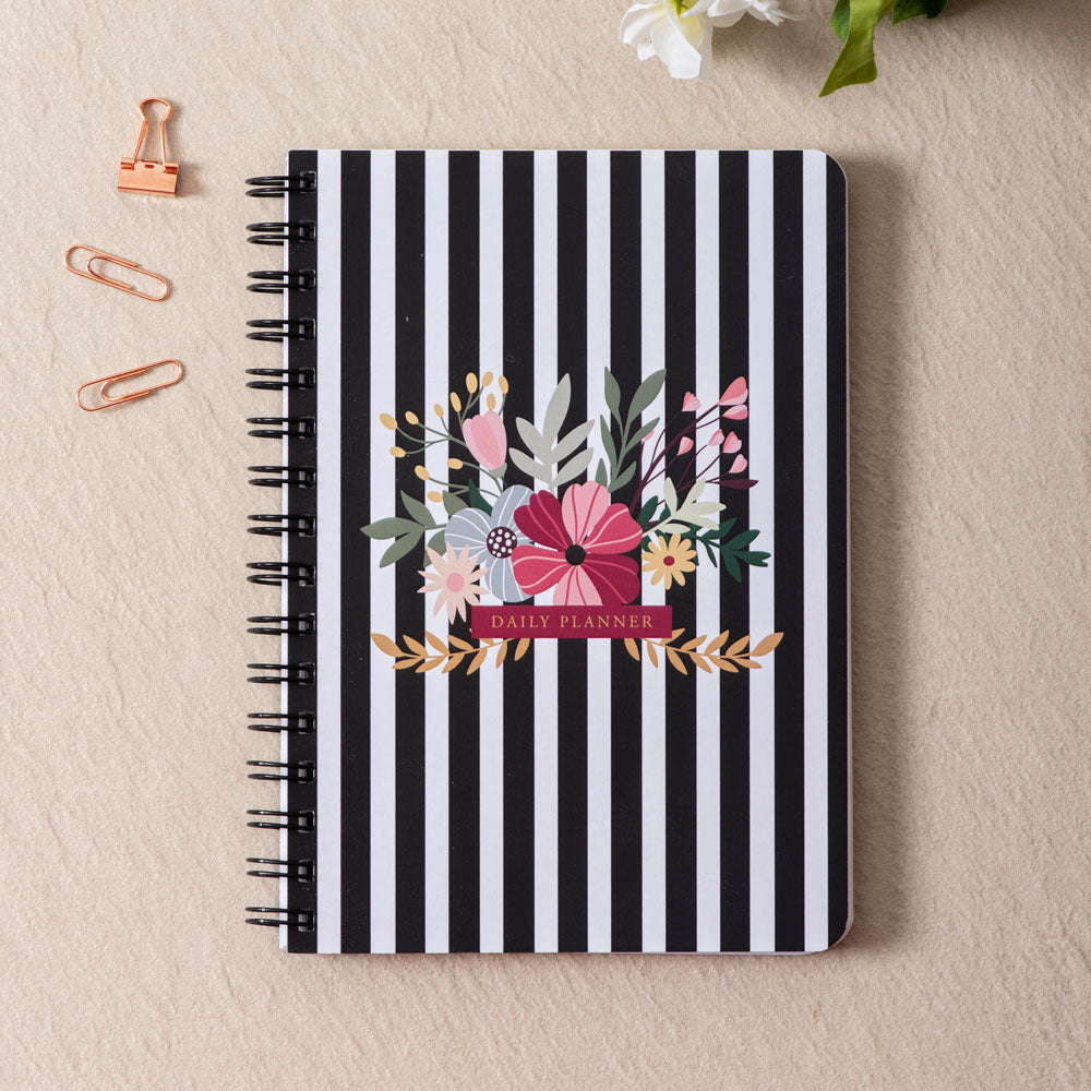 Black & White Striped Daily Planner