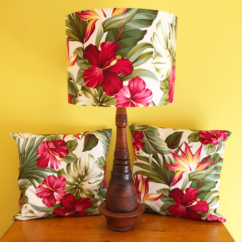 RESERVED FOR J.P Hibiscus Lampshade + Cushion Covers