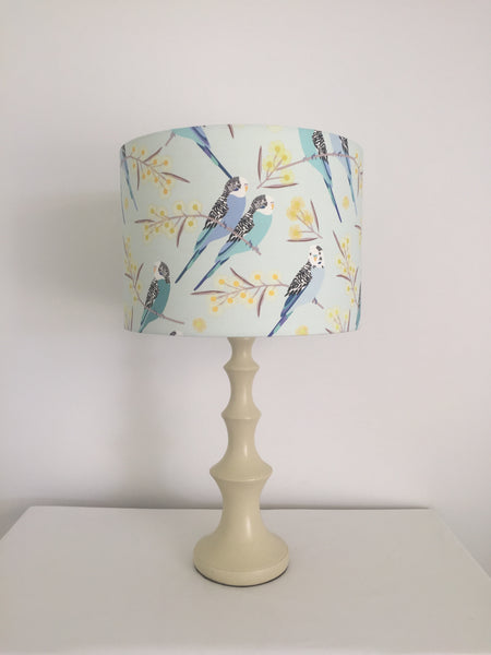 Australian Budgie & Wattle Blue Lampshade | Australiana Bird Lamp Shade