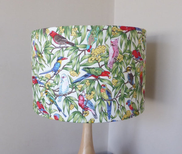 Australian Parrots Lampshade | Fabric Lamp Shade | Birds | Handmade in Australia