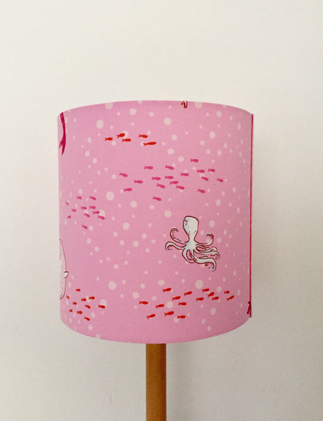 Mermaid & Whale Pink Lampshade