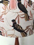Australian Black Cockatoo & Banksia Peach Lampshade |Australiana Lamp Shade