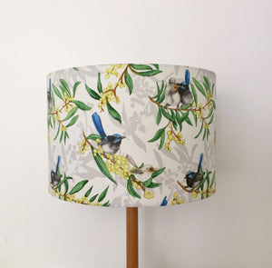 Blue Wren & Golden Wattle Lampshade