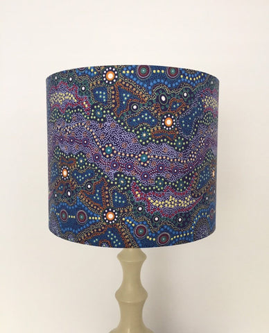 Yalke Blue Lampshade | Aboriginal | Dot Art