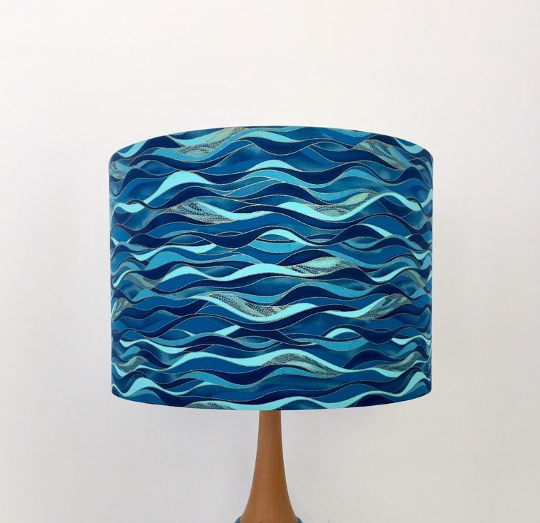 Blue & Gold Waves Lampshade