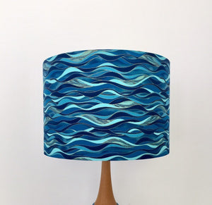 Wavey Blue & Gold Lampshade | Gold Guilding