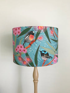Blue Wren & Pink Floral Gum Blossom Lampshade