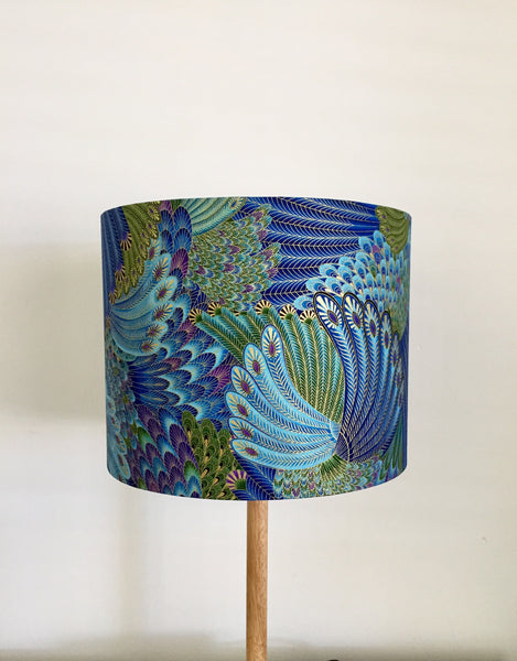 Peacock Feathers Lampshade- Royal Blue