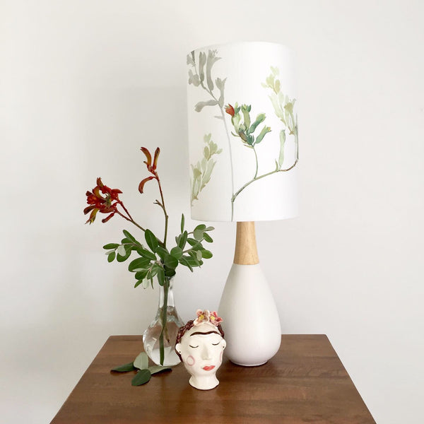 Kangaroo Paws White Ceramic & Timber Table Lamp
