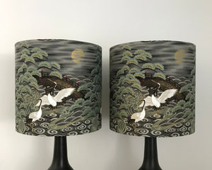 2x Japanese Red-crowned cranes & Gold moon