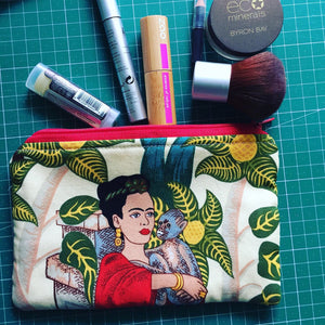 Frida Kahlo Make Up Bag - Zippered Pouch