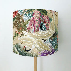 Wisteria and Japanese Crane Lampshade