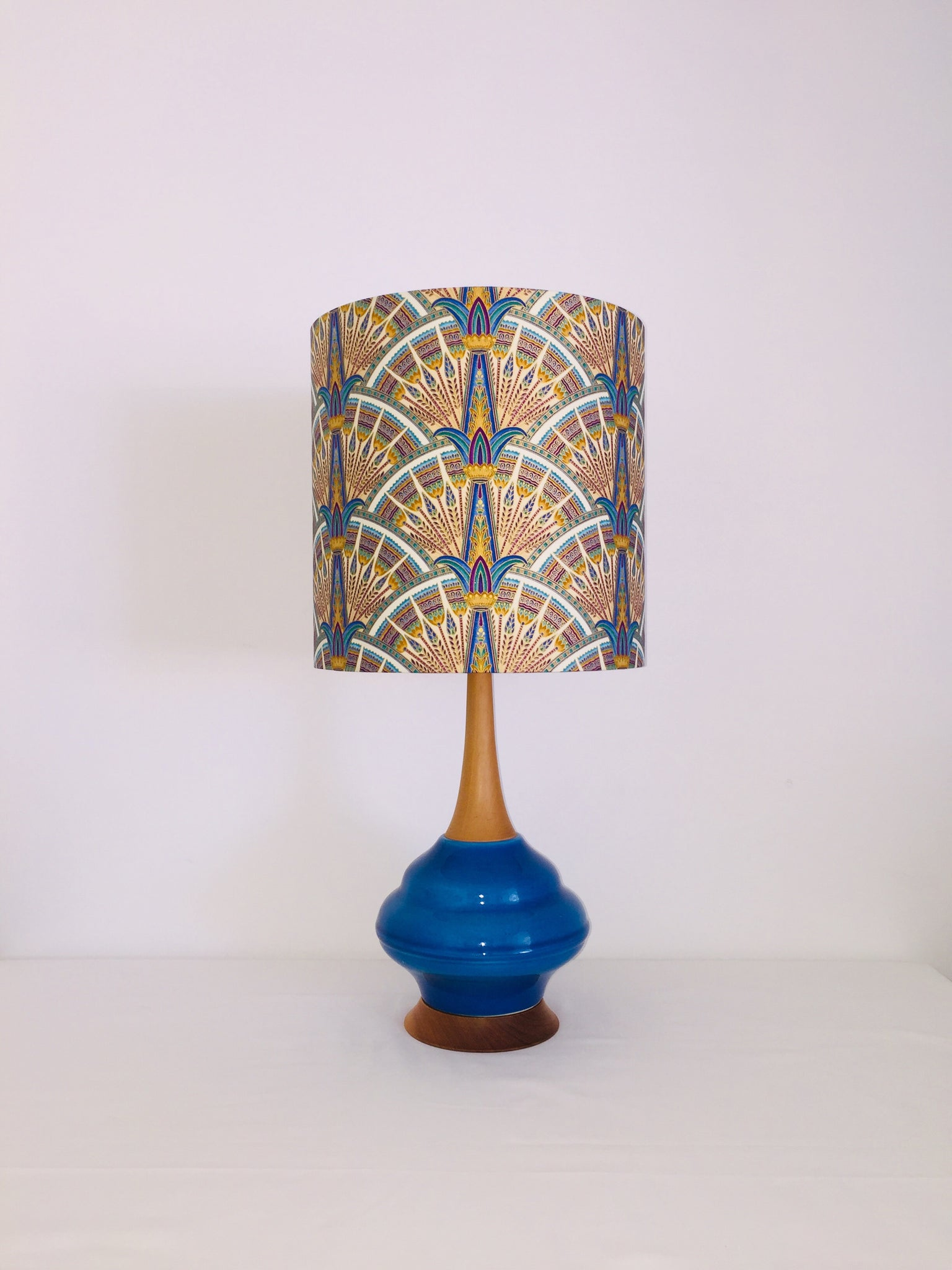 Royal Blue Egyptian Ceramic & Timber Table Lamp
