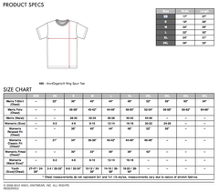 Anvil Organic sizing chart