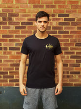 Black Drop Hem T-Shirt, Gold logo