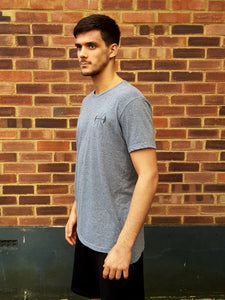 Grey Drop Hem T-Shirt, Black logo