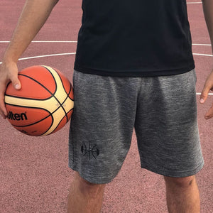 Grey Basketball Shorts, Black Logo (Embroided)