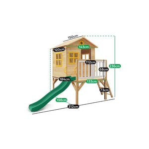 Archie Cubby House with Green Slide - Dimensions