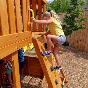 Ashberry Wooden Playset - Rock Wall Feature