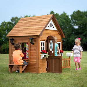 Kids Playing in Backyard Discovery Aspen Cubby House - Image 1