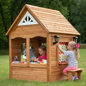 Kids Playing in Backyard Discovery Aspen Cubby House - Image 2