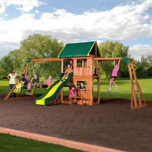 Kids playing on Backyard Discovery Prairie Ridge Play Centre - Lifestyle Image 1