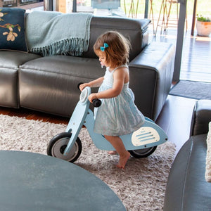 Dash Vespa Balance Bike - Blue - Lifestyle Image 1