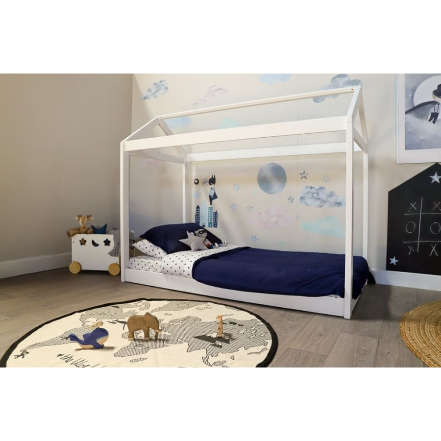 Cubby House King Single Bed - White Colour