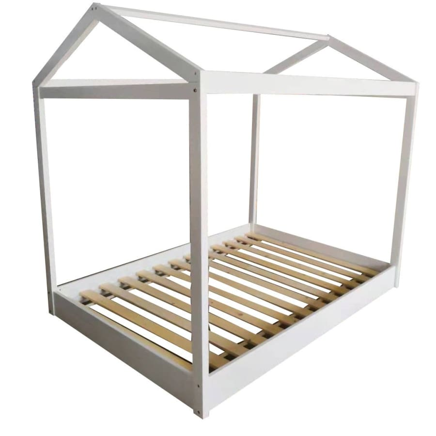 Cubby House Double Bed - White | Grey - White - Beds