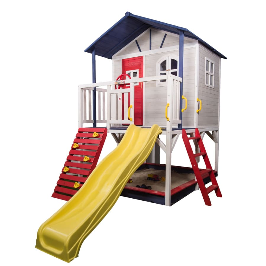 Marlie Cubby House - Blue and Red - Yellow Slide - Image 1
