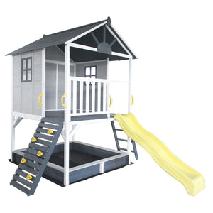My Kidz Shack® Cubby House with Climbing Wall and Yellow Slide