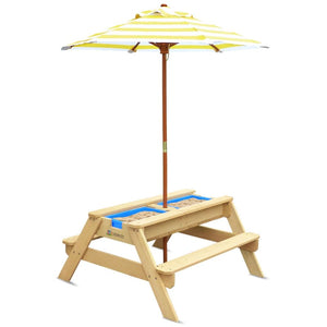 Kids Outdoor Furniture - Sunrise Sand & Water Table with Umbrella - Image 1