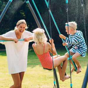 Plum® Premium Metal Double Swing and Glider with Mist - Lifestyle Image 3