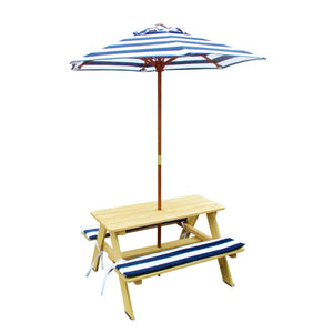 Kids Outdoor Furniture - Sunset Picnic Table with Umbrella & Cushions