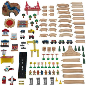 Flatlay of Kids Train Set Accessory pieces - Adventure Town Railway