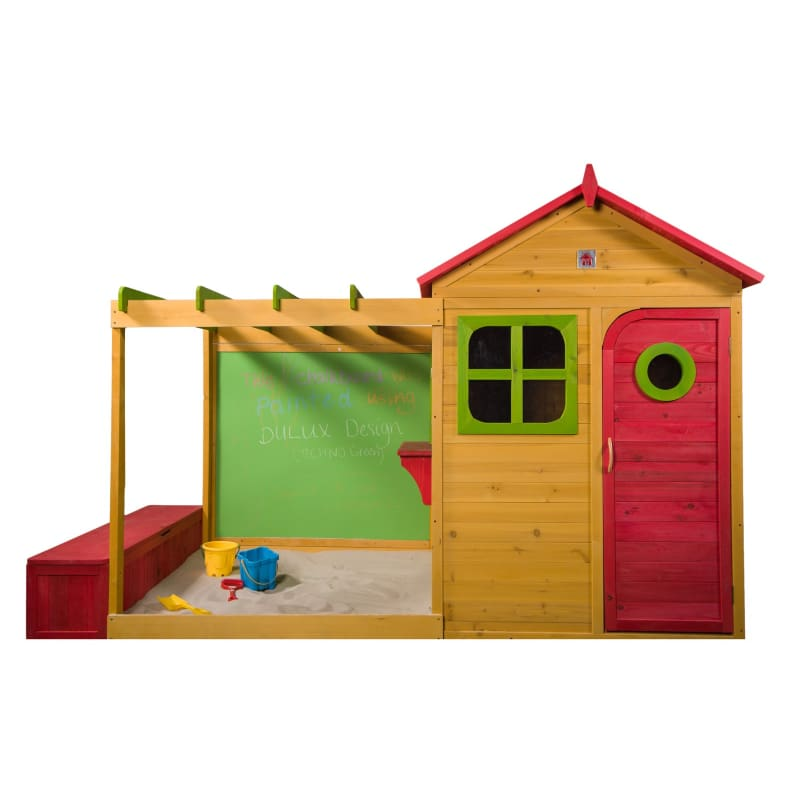 Archie Cubby House - Kids Cubby House with Sandpit Chalkboard and Storage Box